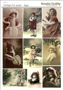 MVIN101 Vintage jul jenter - farger Large Web view