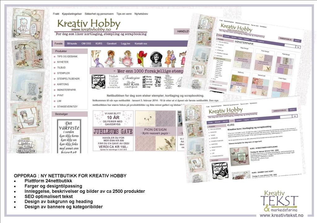 2014 JAN - Ny nettbutikk Kreativ Hobby