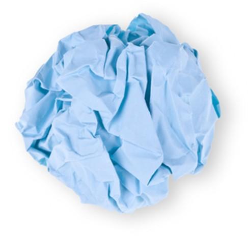 ST blå papirball